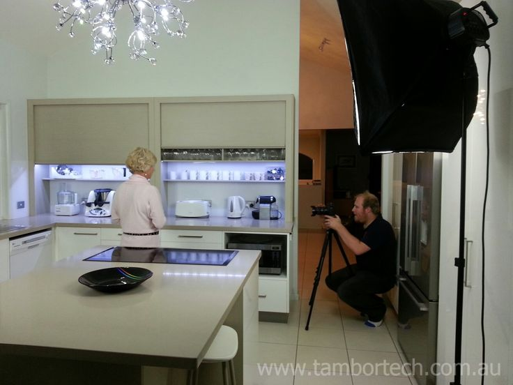 Tambortech Doors Benchtop Pantry Kitchen filming - behind the scenes. Stay tuned for video!
