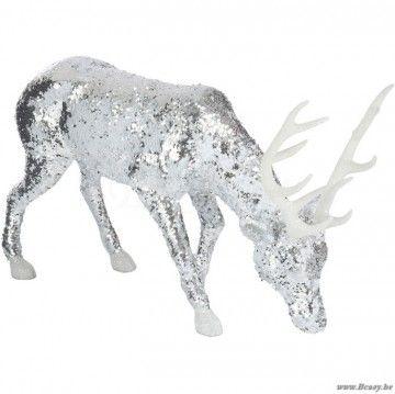 J-Line Staand grazend hert met kop naar beneden glitter zilveren pailletten 60h