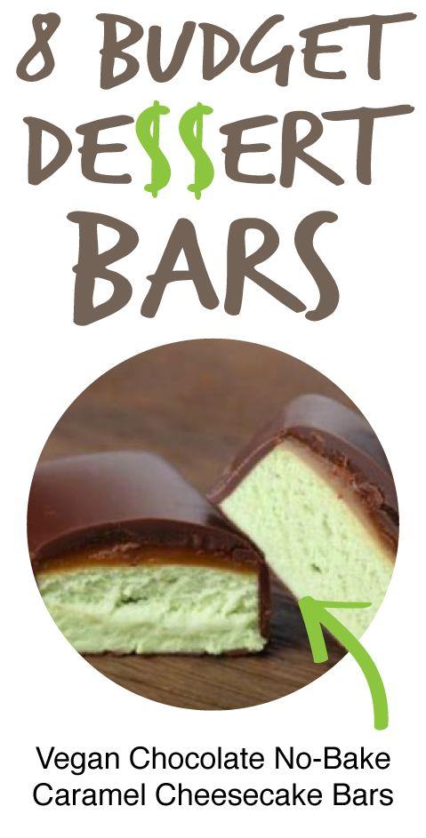8 Budget Dessert Bars: Vegan Chocolate Covered No-Bake Caramel Cheesecake Bars