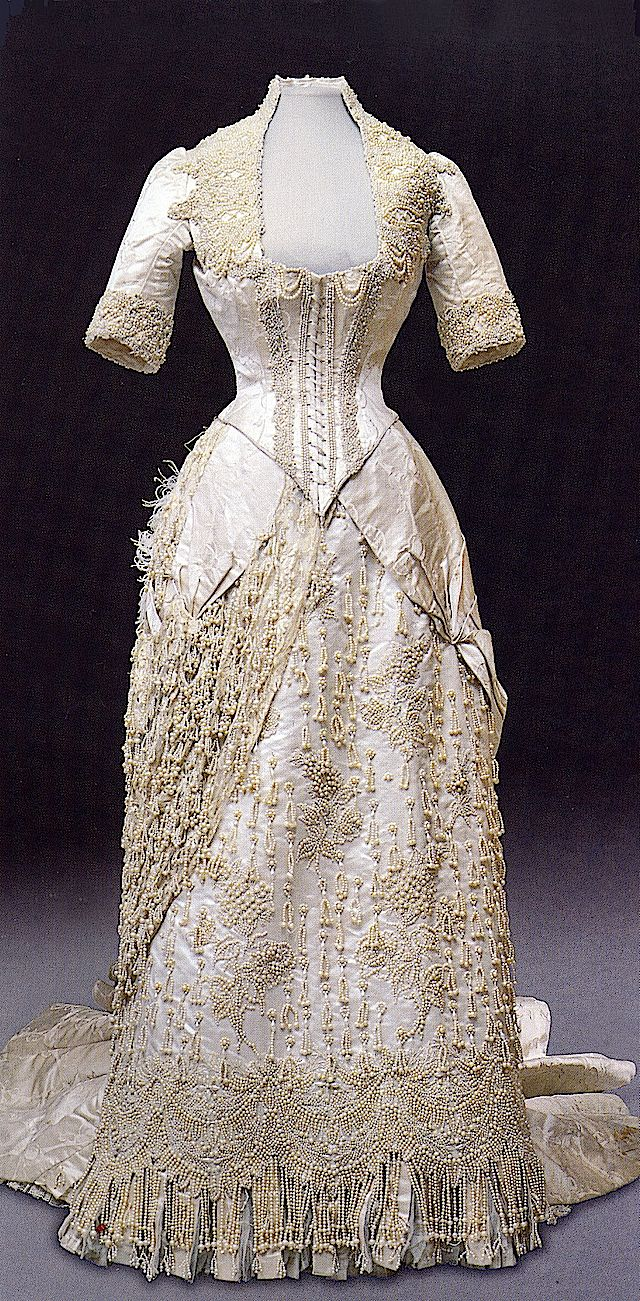 Evening Dress of Empress Maria Fyodorovna, A. Corbay-Wenzel: ca. 1880's, French, satin, pearls, fringe, lace.