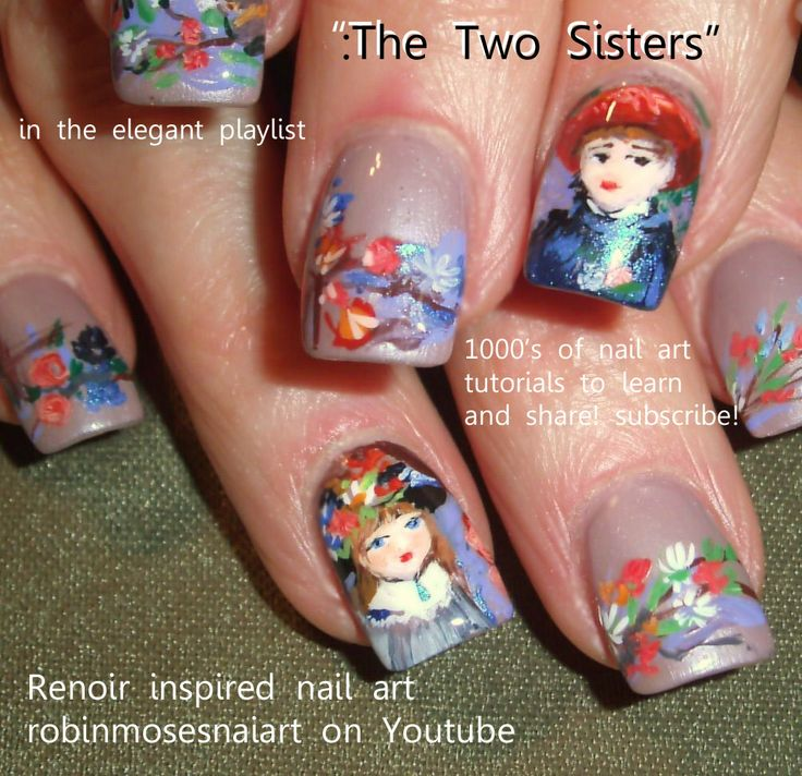 "Nail-art by Robin Moses paints: Renoir ""two sisters"" http://www.youtube.com/watch?v=WVIqUMLDL-0"