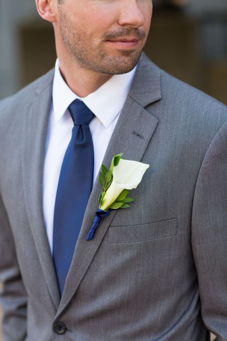James's Navy Tie and Calla Lily Boutonniere