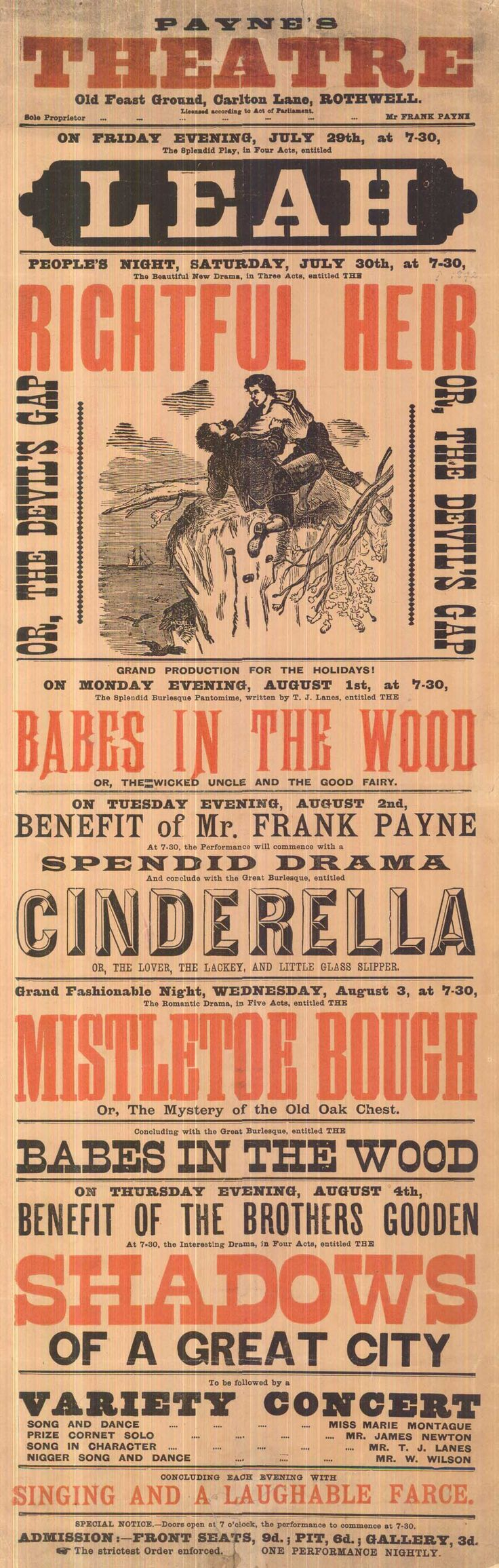 Poster design 19th century - Payne S Theatre