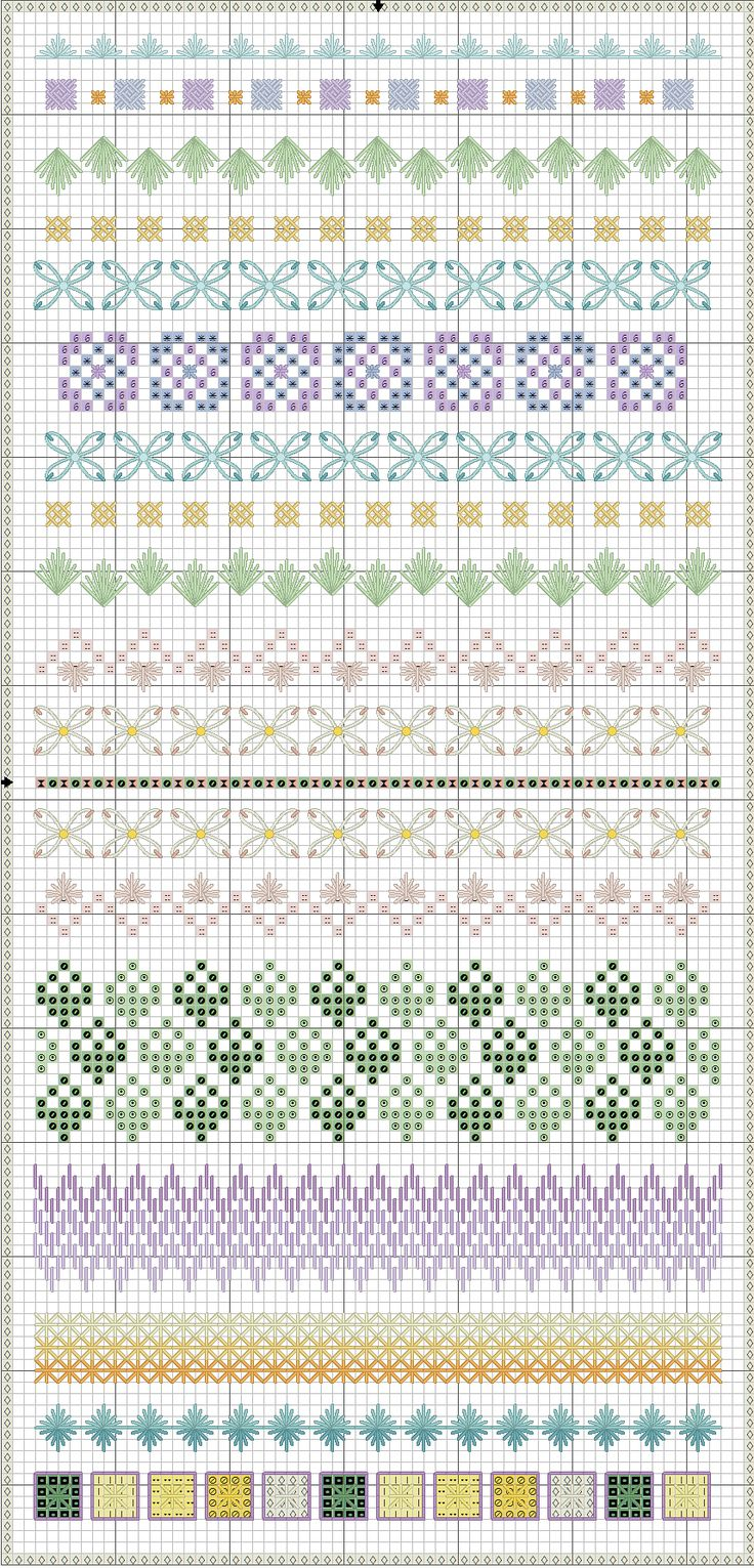 few of the borders are actually cross stitch, but the others look do-able and pretty. Nice chart, no DMC floss numbers but I don't think that's vital here. pic-spring-stitch-sampler.png (858×1785)