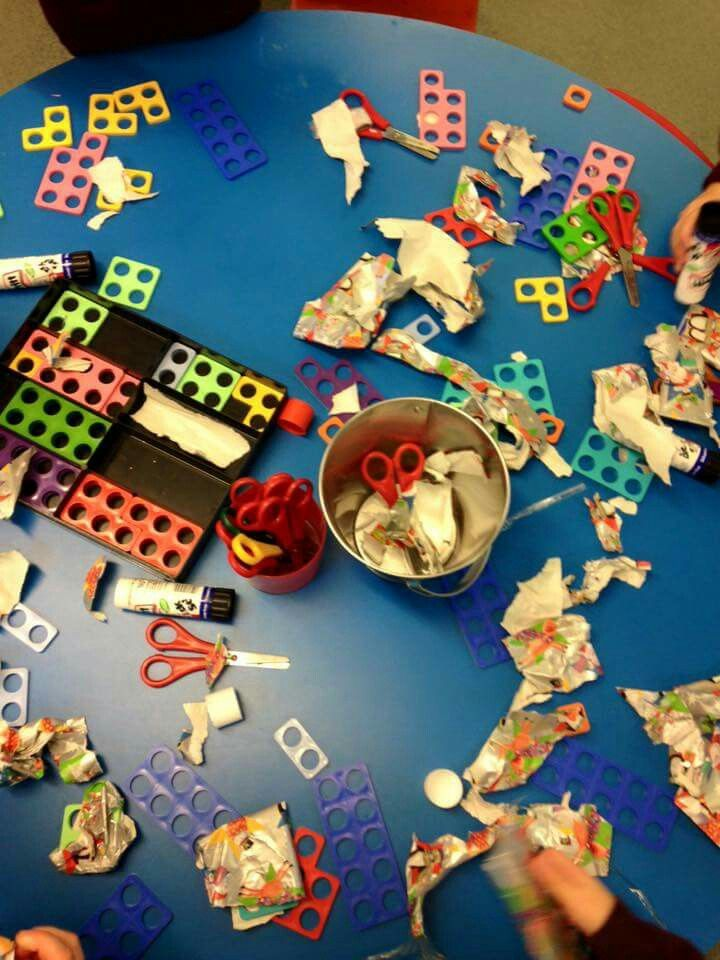 Wrapping paper and Numicon. Massive amounts of learning but most of all: fun…