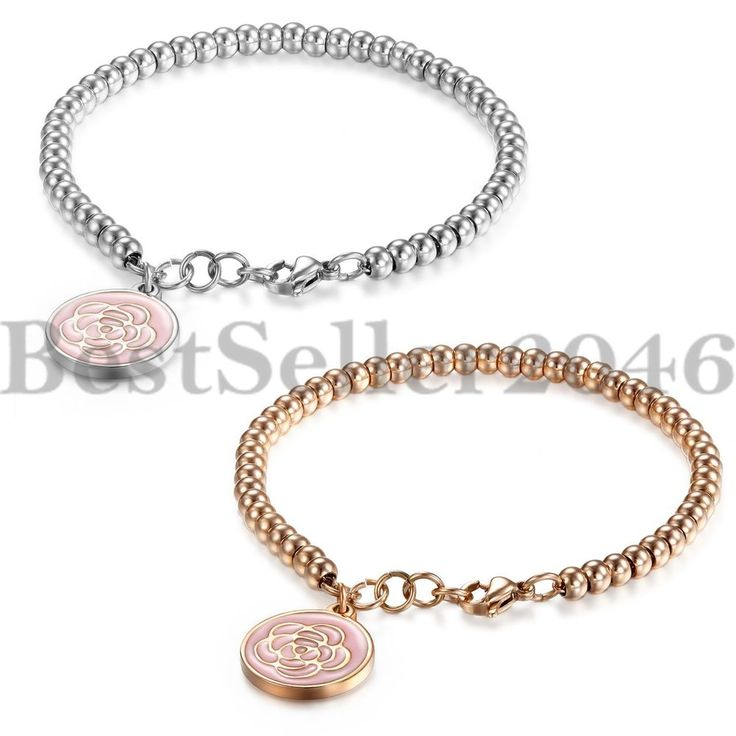 Silver Bracelet with mixed flowers - Sm Round links + Giftbox 8ypCaIO1m
