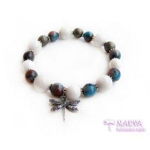 #bracelet #dragonfly with jade gemstones $12