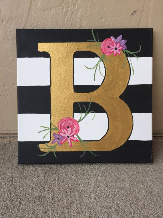 Hand Painted Initial Canvas by GlitteranGlue on Etsy