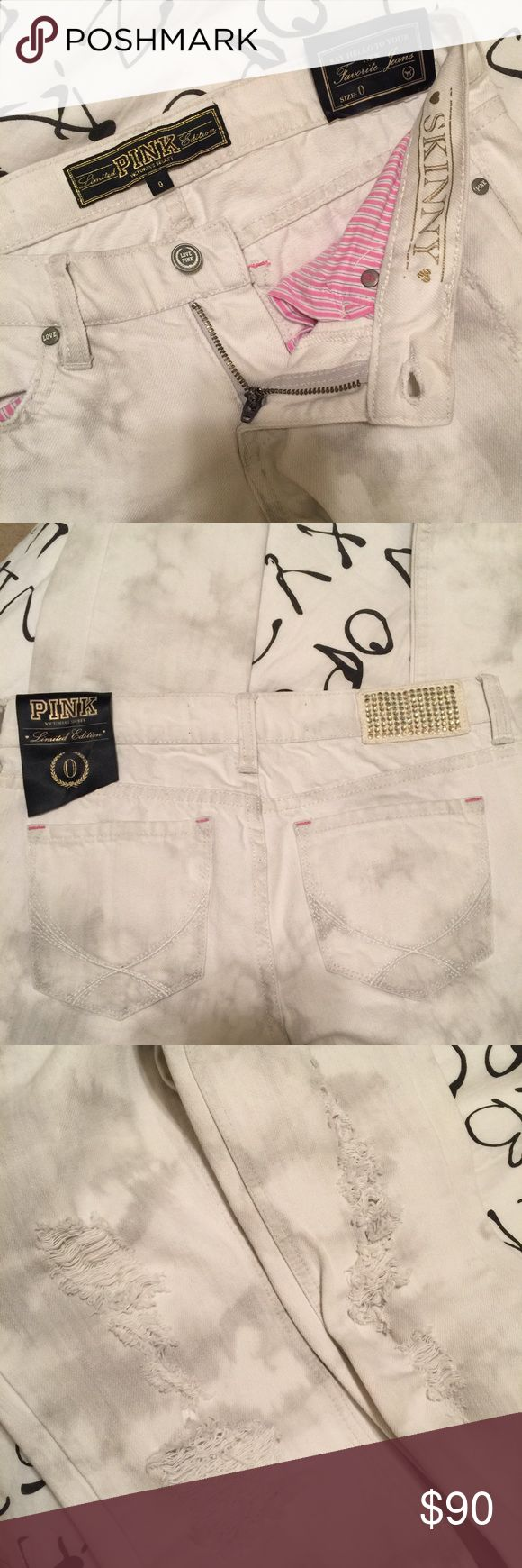 """Victoria's Secret PRELOVED limited edition, collector's, limited release distressed white denim skinny jeans with splatters all over, exclusively from Victoria's Secret PINK. The tag is on the waist band on back (there is NO price tag because they were purchased through catalogue/online). They are a skinny fit but not super tight (more relaxed in the calf). They have destructed details and rhinestones on the back. They are sexy and stylish. Size 0 inseam approx 31"""" Victoria's Secret Jeans…"""