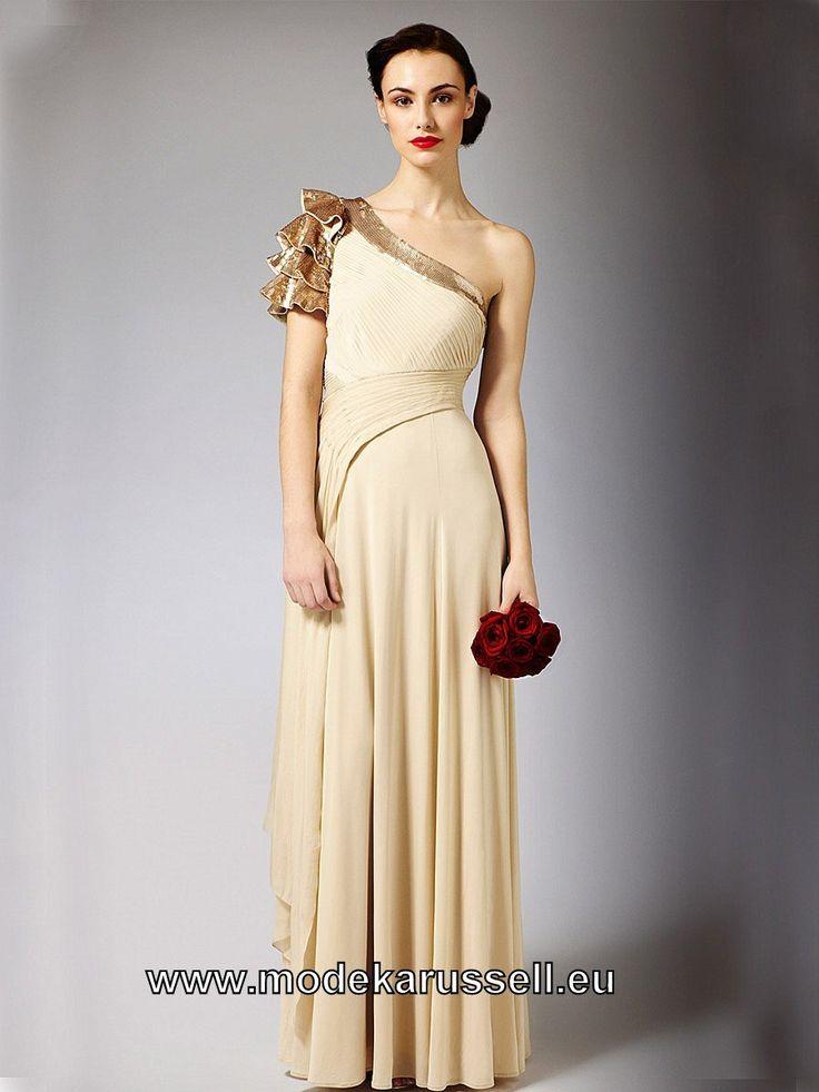 Elegantes One Shoulder Abendkleid in Gold