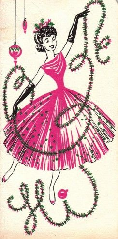 An early 1960s Christmas card that is just gorgeously girly. Source: Posh Totty Designz