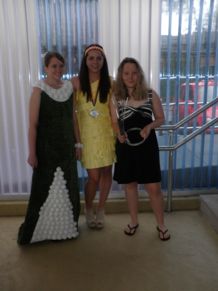 Left to right: Shannon, Gemma and me at schools textile parade wearing my garments