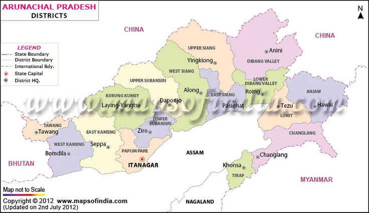 District Map of Arunachal Pradesh