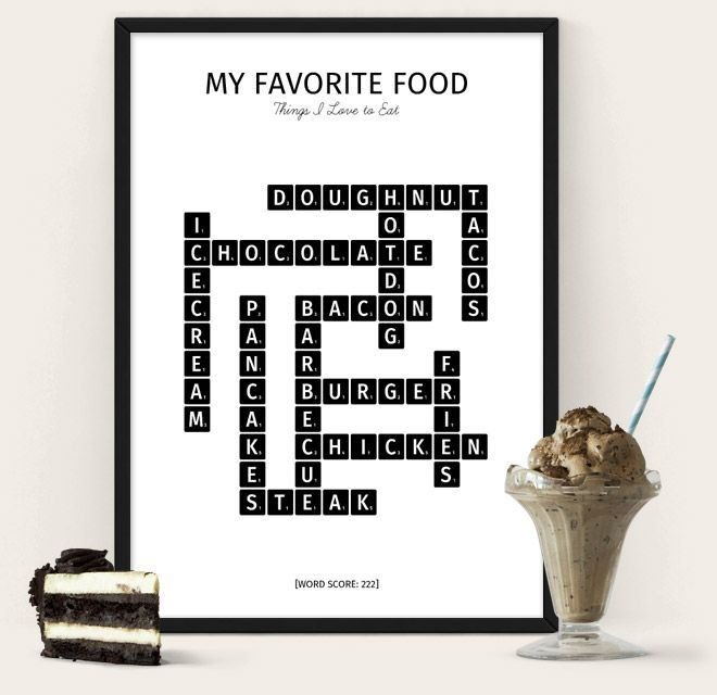My Favorite Food Poster from The Puzzle Poster - scrabble themed poster