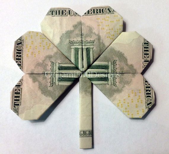 $5 Bill SHAMROCK CLOVER - Money Origami - Dollar Bill Art