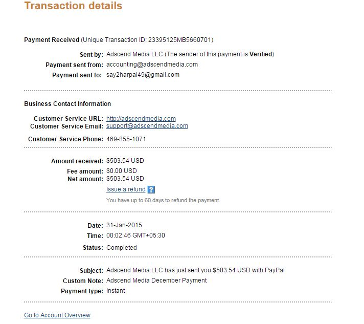 Adscend Media Review & Payment Proof paypal