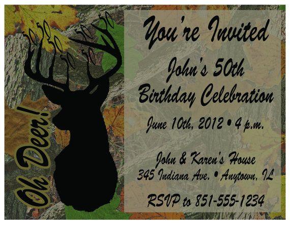 Tree Camo Deer Hunting Printable Birthday Invitations
