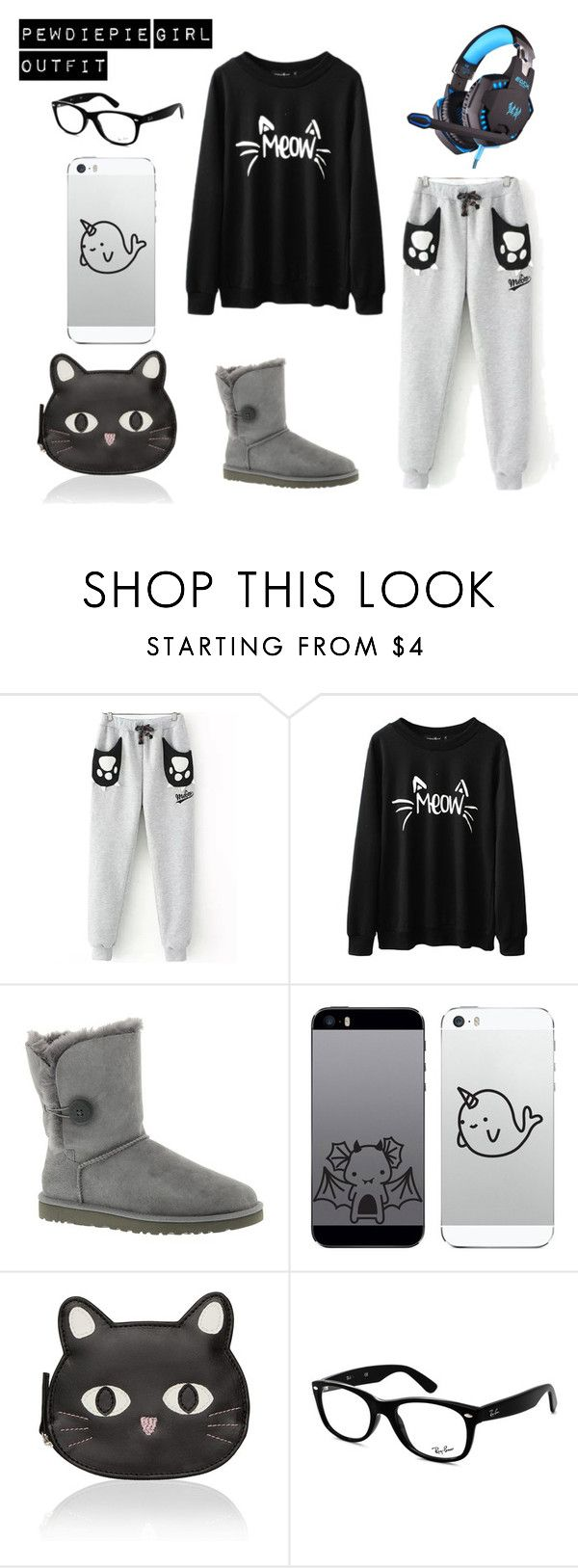 """""""pewdiepie girl outfit"""" by leela-abrams on Polyvore featuring UGG Australia and Ray-Ban"""