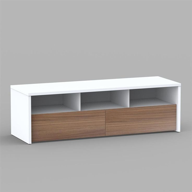 Liber-T 60'' 2 Drawer TV Stand. Stunning, bright white symmetry makes this simple piece stand out in any home entertainment setup. Ball bearings contribute a smooth glide to large wood-grain drawers, making storage of DVDs and CDs a breeze. DVD players, stereo equipment and game systems all fit squarely inside the stand's three wide top compartments, and a generous top area supports even the largest televisions.60'' TV Stand: 60'' TV stand with 2 extra wide drawers and 3...