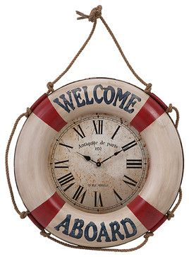 welcome Aboard Wall Clock beach-style-clocks