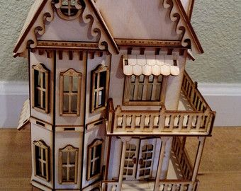 Deluxe Victorian Gingerbread Dollhouse kit by JourneyProductions
