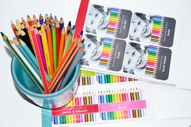 Macaroon 'Colour Me' Personalised Stickers - bright and colourful pencil crayon-inspired stickers are perfect for personalising your child's art and crafts when giving them as gifts - www.macaroon.co