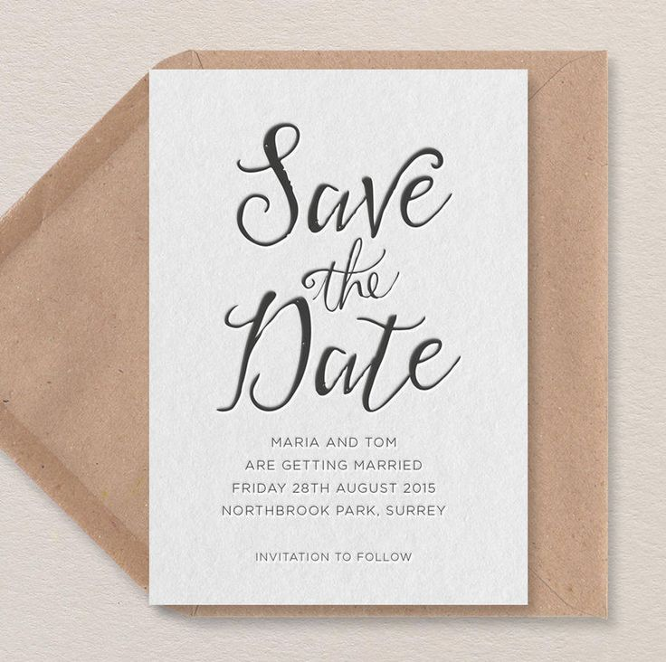 Are you interested in our calligraphy save the date? With our letterpress save the date you need look no further.
