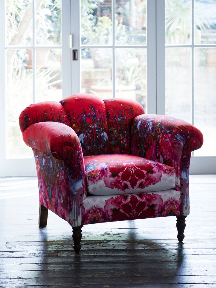 Newly upholstered 1930's chair in Timorous Beasties fabric - ML Interior Design Home Store - £2,000