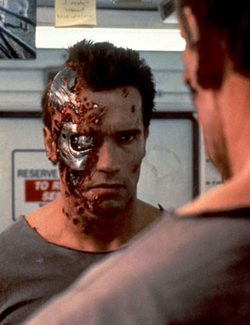 Arnold Schwarzenegger as The Terminator in Terminator 2:Judgement Day