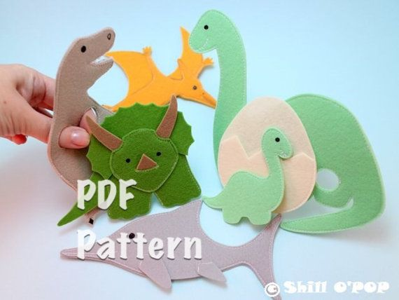 Dinosaurier fühlte Finger Puppet PDF-Muster von ShillOPOP auf Etsy