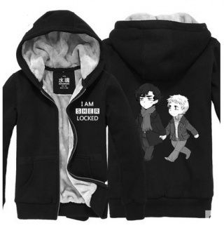 Sherlock fleece hoodies for men plus size zip up hoodies for winter