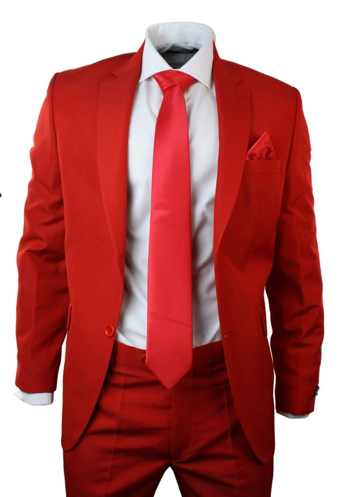 Mens Red Suit Blazer Trouser Tie & Hankie Party Wedding Prom Tailored Fit. #party #wedding #prom #clothing #style #fashion #shopping