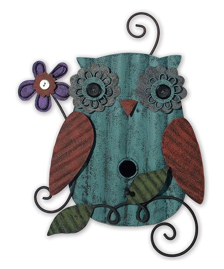Teal  Red Owl Birdhouse