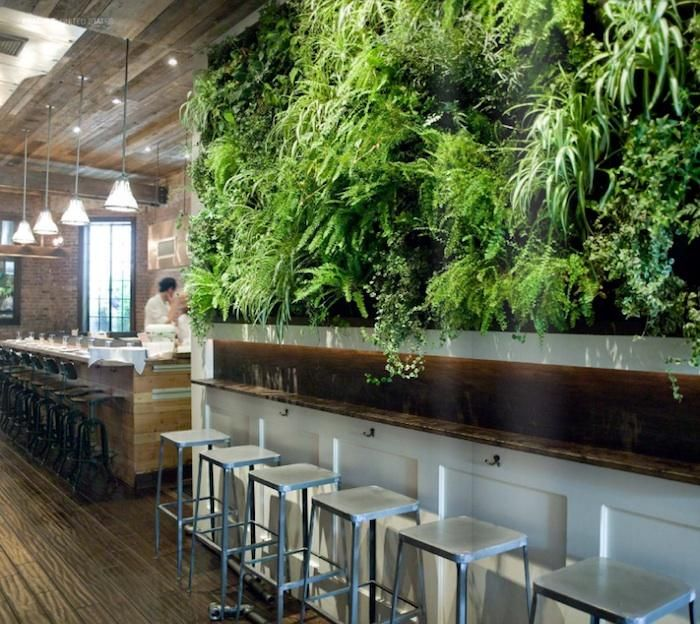 The lush vertical garden (edible herbs are included in the mix) is the work of Woodland Landscapes.