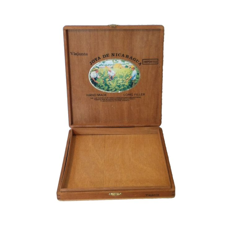 $17  Vintage Wooden Cigar Box Joya De Nicaragua Imported Box Handmade Wood Dovetailed Cigar Box Brass Closure Color Interior Wood Storage Box by LastTangoVintage on Etsy