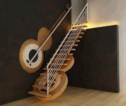 Guitar staircase and railing.
