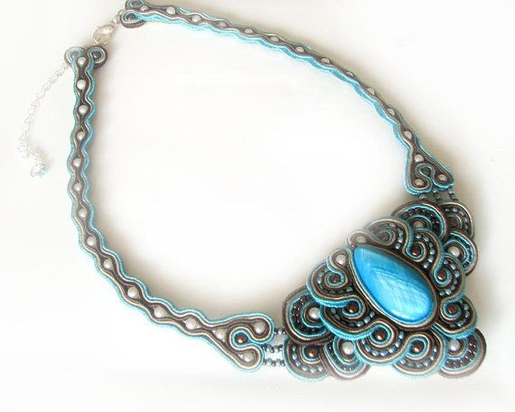 Soutache necklace  turquoise & brown