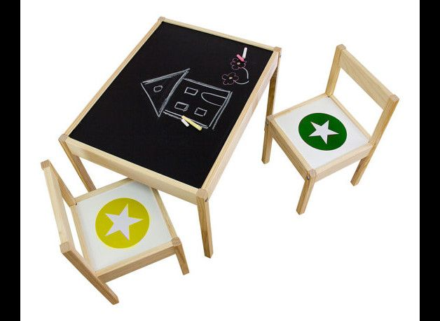 +Tafelfolie und Möbelsticker passend für IKEA LÄTT Kindertisch und Stühle, Farbe: grün/gelb+  Das ist das Haus vom Nikolaus ...! Auf dem schönen Tafeltisch kann dein Kind nach Herzenslust der...