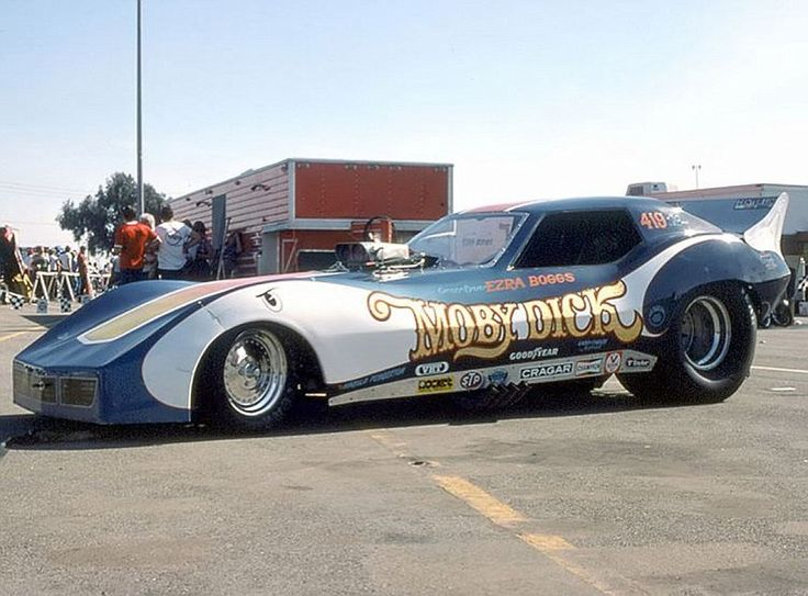 """Ezra Boggs' """"Moby Dick"""" Corvette F/C,in the pits."""