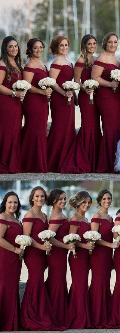 gorgeous off the shoulder burgundy mermaid long bridesmaid dress, 2018 bridesmaid dress, gorgeous wedding party dress #mermaidweddingdresses #bridesmaiddresses
