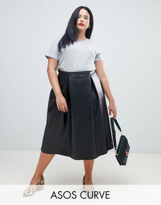 aa4a15049697c2 ASOS Curve | ASOS DESIGN Curve leather look full midi skirt with box pleats