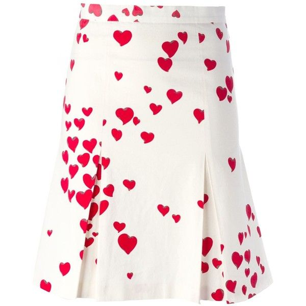 Moschino Vintage Heart Print Pleated Skirt ($384) ❤ liked on Polyvore featuring skirts, white, high rise skirts, cotton pleated skirt, high waisted knee length skirt, white skirt and white high waisted skirt