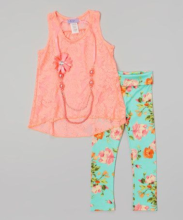 Take a look at this Pink Lace Tank Set - Toddler & Girls on zulily today!