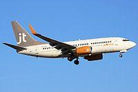 Jettime Finland Boeing 737-7L9(WL) OH-JTV aircraft, on short finals to Spain Palma de Mallorca Son Sant Joan International Airport. 26/06/2015.