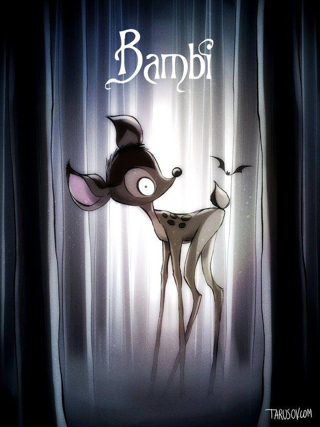 Bambi: Der kleine Hirsch sieht aus wie Emily aus Corpse Bride – Hochzeit mit einer Leiche. | So würden Disney-Filme aussehen, wenn Tim Burton Regie geführt hätte