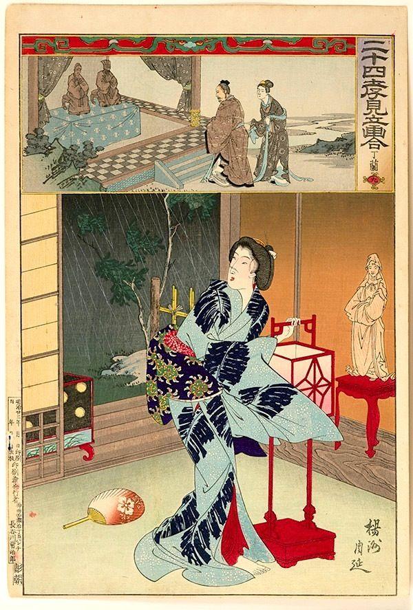 Chikanobu, 24 Paragons of Filial Piety 9 - Teiran-Toyohara Chikanobu, 24 Paragons of Filial Piety, Teiran, japanese woodblock prints, ukiyo-e art, toshidama gallery, bijin