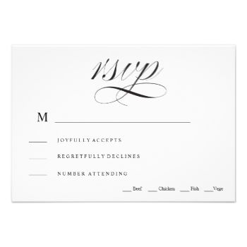 """An elegant black and white script font wedding rsvp card. """"Rsvp"""" script on front with reply by date, attendance, number of guests etc on the back of the card. #rsvp #card #wedding #rsvp #elegant #traditional #wedding #rsvp #card #traditional #rsvp #card #black #and #white #rsvp #card #calligraphy #rsvp #card #calligraphy #wedding #rsvp #card #formal #rsvp #card #formal #wedding #rsvp #card #rsvp #wedding #black #and #white #script #calligraphy #traditional #becky #nimoy"""