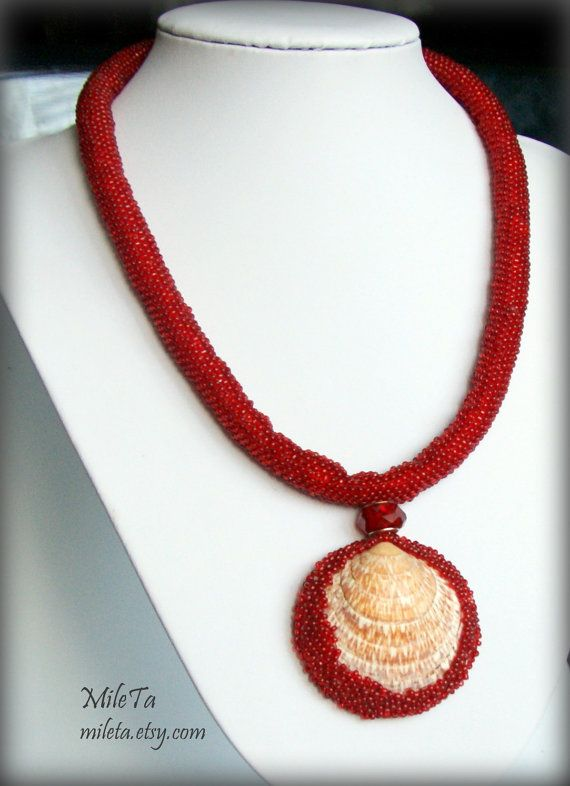Unique handmade necklace: Red beaded rope with shell by MileTa