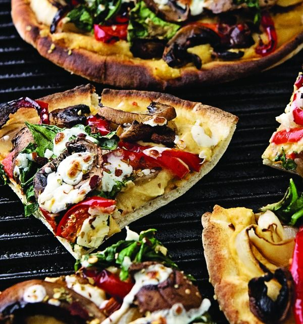 Recipe For Grilled Flatbread with Hummus and Mixed Veggies