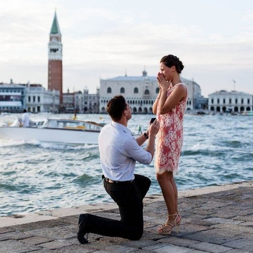 Pretend Boyfriend proposing in Venice! Good thing Pretend Me wore the sexy shoes.